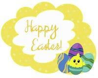 Amarelo brilhante cartão de Páscoa modelado Fotografia de Stock Royalty Free