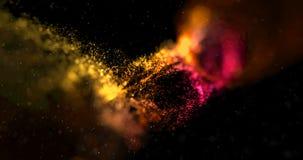 Amarelo colorido da faísca do brilho da disposição abstrata do córrego, linhas alaranjadas com partículas na ciência preta do fun ilustração stock