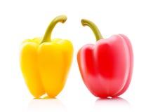 Amarelo colorido dois e pimentas de Bell búlgaras doces vermelhas, Paprika Isolated no fundo branco Fotografia de Stock