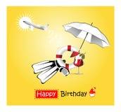 Amarelo do cartão do feliz aniversario Fotografia de Stock Royalty Free