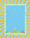 Amarelo do circo, fundo azul Ilustração Stock