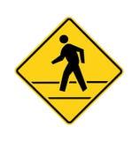 Amarelo do crosswalk do sinal de estrada com linhas fotos de stock royalty free
