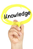 Amarelo do highlighter do círculo da mão do conhecimento isolado Imagens de Stock Royalty Free