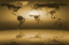 Amarelo do mapa de mundo Fotografia de Stock