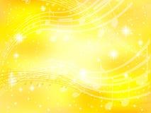 Amarelo do ouro da nota da música de fundo Fotografia de Stock