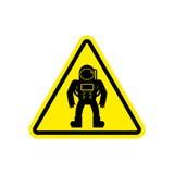 Amarelo do sinal de aviso do astronauta Símbolo da atenção de Hazard do cosmonauta ilustração stock