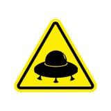 Amarelo do sinal de aviso do UFO Símbolo da atenção do perigo dos estrangeiros Perigo ilustração stock
