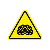 Amarelo do sinal de aviso dos cérebros Pense o símbolo da atenção do perigo Dange ilustração stock