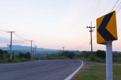 Amarelo do sinal de estrada Fotos de Stock Royalty Free