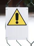Amarelo do sinal do perigo com o espaço branco a escrever Fotografia de Stock