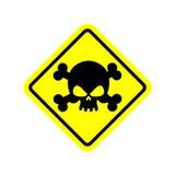 Amarelo do sinal do veneno do perigo Perigo tóxico da atenção Sinal de aviso ilustração do vetor