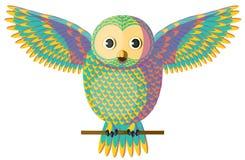 Amarelo do vetor e coruja de turquesa Fotos de Stock Royalty Free