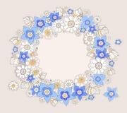 Amarelo e azul coloriu o quadro redondo das felicitações das flores, styl Imagem de Stock