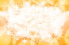 Amarelo e branco do fundo da luz de Natal Fotografia de Stock Royalty Free