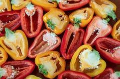 Amarelo e vermelho orgânicos cortados da pimenta da paprika fotografia de stock royalty free