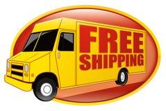 Amarelo livre do caminhão de entrega do transporte fotografia de stock royalty free