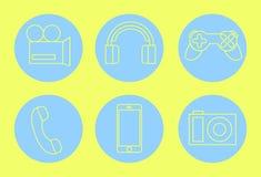Amarelo mínimo dos ícones do dispositivo no azul Face das mulheres Hand-drawn de illustration Foto de Stock Royalty Free