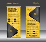 Amarelo role acima o vetor do molde da bandeira, suporte, projeto do inseto, bann Fotografia de Stock Royalty Free