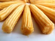 Amarelo saudável natural enlatado delicioso do alimento da espiga de milho do bebê do milho imagens de stock royalty free