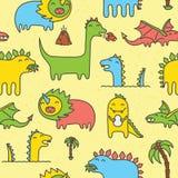 Amarelo sem emenda do teste padrão do vetor de Dino Imagens de Stock Royalty Free