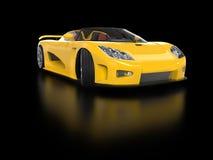 Amarelo sportscar com reflexão Fotografia de Stock Royalty Free