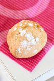 Amaretti on purple towel. Traditional italian almond cookies - amaretti on purple towel royalty free stock photography