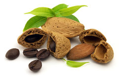 Amaretto. Beans coffee and almond with leaves stock photo