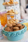 Amaretto cakes in a blue bowl Stock Photography