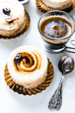 Amaretto and coffee cake with expresso shoot Royalty Free Stock Photos