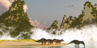 Amargasaurus Dinosaurs. A herd of Amargasaurus dinosaurs come down to a lake to drink in the morning as a flock of Zhenyuanopterus Pterosaur reptiles fly over Stock Photography