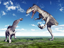 Amargasaurus y Megalosaurus Imagenes de archivo