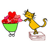 Amarillee el carro de la compra del gato Foto de archivo