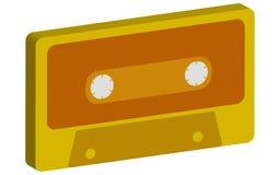 Amarillee, el oro 3d, musical volumétrico, retro, inconformista, viejo, viejo, casete audio de la antigüedad 80 del ` s, 90 ` s e Foto de archivo libre de regalías