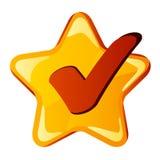Amarillee la estrella de la marca de cotejo Imágenes de archivo libres de regalías