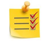Amarillee la lista de verificación Imagen de archivo libre de regalías
