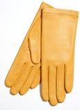 Amarillee los guantes de cuero Imágenes de archivo libres de regalías