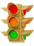 Amarillee los semáforos en el fondo blanco Imagen de archivo