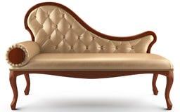 Amarillento de cuero clásico del sofá Fotografía de archivo
