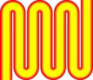 Amarillo anaranjado rojo del zigzag del arte pop Fotos de archivo