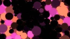 Amarillo anaranjado y bolas que brillan intensamente rosadas en la representación negra del fondo 3d Imagen de archivo