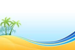 Amarillo azul del fondo de mar de las palmas abstractas de la costa Foto de archivo