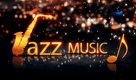Amarillo 3D del brillo de la estrella de Jazz Music Saxophone Gold City Bokeh Imagenes de archivo