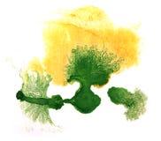 Amarillo de la acuarela del arte, gota verde de la pintura de la tinta Foto de archivo libre de regalías