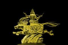 Amarillo de la escultura de hielo de los Immortals y de Pegaso Foto de archivo