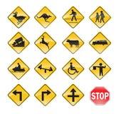 Amarillo de las señales de tráfico Fotos de archivo libres de regalías