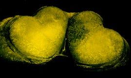 Amarillo de los corazones que brilla intensamente Imágenes de archivo libres de regalías