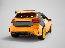 Amarillo del coche deportivo detrás de la representación de la parte inferior 3D en un fondo gris con una sombra imagen de archivo libre de regalías