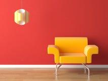 Amarillo del diseño interior en rojo Imagenes de archivo