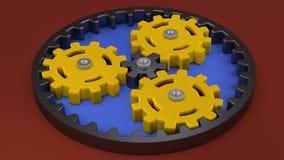 Amarillo del engranaje planetario, estrategia de las ideas del negocio del concepto del trabajo en equipo ilustración del vector