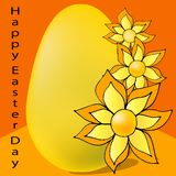 Amarillo del huevo con las flores en fondo anaranjado ilustración del vector